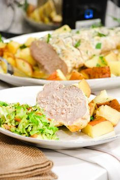 Crock pot pork loin roast and potatoes is an easy dump and go crock pot pot ranch pork loin recipe that will look and taste fancy when you serve it for dinner. Crockpot Recipes, Cooking Recipes, Keto Recipes, Pork Loin, Pork Roast, Slow Cooker Tacos, Crock Pot Cooking, Pork Dishes, Ranch