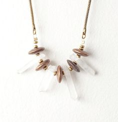 Crystal and Brass Spacer Necklace on a Vintage by DeuceFashion, $39.00