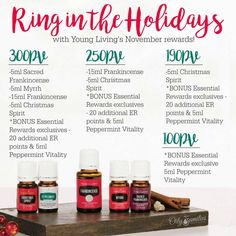 FREE oils for the month of November 2016 from Young Living!  Love the generosity of this company!