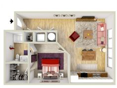 1 bedroom - Portico floor plan - rendering - Brand new apartments! Apartment Layout, Apartment Plans, Dream Apartment, Mini House Plans, House Floor Plans, New York Apartments, Sims 4 Houses, Craftsman Style House Plans, Log Homes