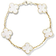 Vintage Alhambra bracelet, 5 motifs ($4,000) ❤ liked on Polyvore featuring jewelry, bracelets, vintage jewelry, vintage jewellery, vintage bangle and white jewelry