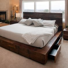 Reclaimed Wood Platform Bed with Drawers - transitional - bedroom - other metro - Woodland Creek Furniture
