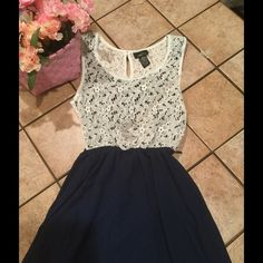 Super Sweet Rue 21 Hi-Lo Dress  Darling midi hi-lo dress with crocheted top from Rue 21. Skirt is sheer with additional lining. Don't pass up this sweet little number! Rue 21 Dresses High Low