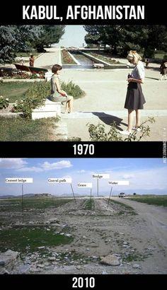 Kabul, Afghanistan 1970 vs. Kabul, Afghanistan 2010.