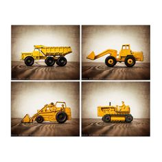 Four  Canvases Ready to Hang, Vintage Construction Vehicles On Barnwood, Diggers, Wall Art,  Kids Room, Nursery Ideas