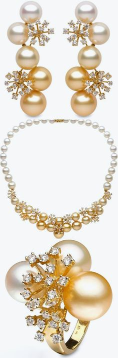 Golden South Sea Pearl, Freshwater Pearls, Diamond and 18K Gold Earrings, Necklace and Ring by YOKO London