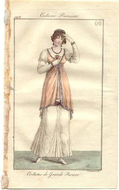 = 470 Full dress, 1803 France, Journal des Dames et des Modes 1800s Fashion, 19th Century Fashion, Victorian Fashion, Vintage Fashion, Regency Dress, Regency Era, Mode Costume, Historical Clothing, 1800s Clothing