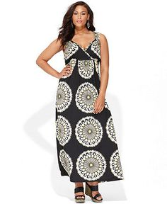 INC International Concepts Plus Size Dress, Sleeveless Printed Studded Maxi Only@Macys  Web ID: 921082