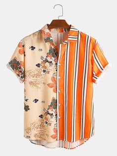 Men Landscape Painting Striped Patchwork Holiday Curved Hem Shirt is designer and cheap on Newchic. Style Casual, Casual Tops, Casual Shirts, Men Casual, Cool Outfits, Casual Outfits, Summer Outfits, Orange Shirt, Beach Shirts