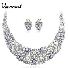New Viennois Silver Plated Multi Simulated Pearl Rhinestone Crystal Earrings Necklace Jewelry Set for Woman Wedding Party