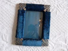 Antique French blue velvet picture frame w filigree finials, glass cover, easel, 1900s Victorian pictureframe, French home decor Blue Home Decor, French Home Decor, Vintage Home Decor, Picture Frames For Sale, French Pictures, Victorian Frame, Filigree Design, French Blue, Blue Velvet