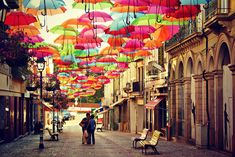 The Floating Umbrella Festival Agueda – Portugal, Umbrellas being the source of shelter in rain and sunlight are the main component of the festival. The beautifully lined umbrellas above the street reflect different colours as sunlight falls on them. The Agueda is a small town located in south of Porto