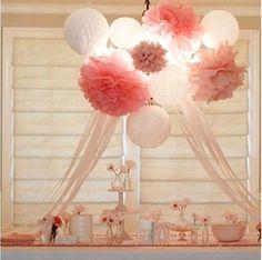 Wedding decorations 10 tissue paper pompoms - 2 sizes - party - pom poms in Home, Furniture & DIY, Wedding Supplies, Other Wedding Supplies | eBay