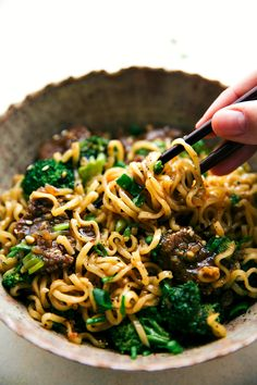 The best way to enjoy beef and broccoli -- over ramen noodles! A delicious and easy 30 minute dinner recipe! Recipe from chelseasmessyapron.com