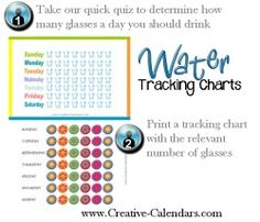 water charts to track how much water you drink