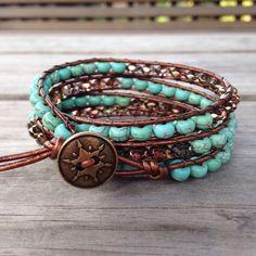 Items similar to Turquoise & Glass Beaded Quad Leather Wrap Bracelet on Etsy Making Bracelets With Beads, Beaded Bracelets, Wrap Bracelets, Crochet Bracelet, Diy Jewelry To Sell, Jewelry Making, Custom Jewelry, Jewelry Ideas, Turquoise Glass
