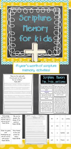 Proverbs 22:6  Direct your children onto the right path, and when they are older, they will not leave it.   I created this resource for Christian School teachers, homeschool moms, and parents that desire to scripture as a vital aspect of their home. This resource contains 200+ pages of memory verse resources. It covers a whole year of memory verses. You will find this resource useful for kids ages 5-12.