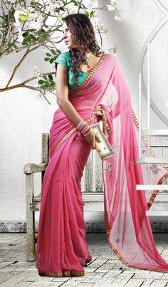 Pink Faux Georgette Designer Indian Wedding Saree