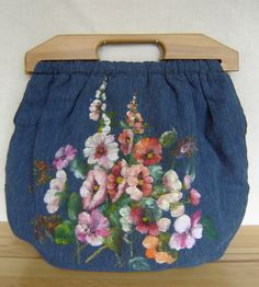 Vintage hand-painted purse with wooden handles - SOLD