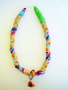 summer jewelry, fabric necklace, ethnic jewelry, colorful necklace, tassel jewelry, summer gifts, OOAK jewelry, gift ideas for her