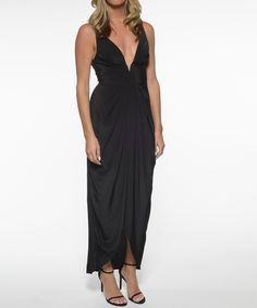 c87c7b63f63 Silk V Tuck Long Dress - Black