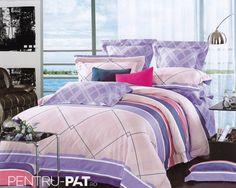 Lenjerie de pat 100% bambus Pucioasa cu dungi si carouri Comforters, Blanket, Bed, Home, Stream Bed, House, Ad Home, Rug, Homes