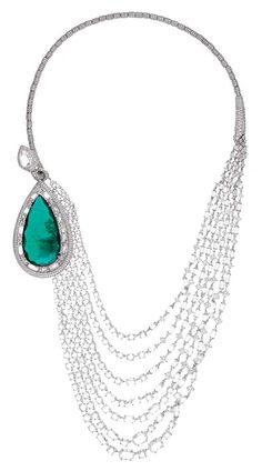 Emerald and Diamond Necklace. Chopard Red Carpet Collection 2014 This year, 67 unique creations inspired by the glamour and the voluptuous beauty of the actresses who lit up the heyday Italian cinema of the 1950's and 1960's were unveiled. www.chopard.com