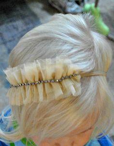 Ruffle Headband Beige Headband Flower Girl Headband by mysweetbee Tulle Headband, Flower Girl Headbands, Baby Headbands, Headband Hairstyles, Diy Hairstyles, Pretty Hairstyles, Diy Hair Accessories, Felt Fabric, Diy For Girls
