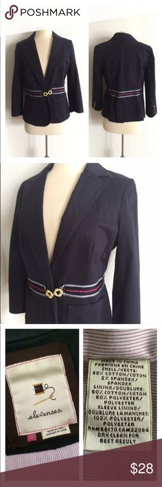 "Elevenses First Mate blazer Elevenses First Mate blazer. Size 10. Measures 25"" long with a 38"" bust. Does not come with the brooch it originally had. This does have a small snag near the chest. Overall this is in very good used condition and has been priced accordingly.  🚫NO TRADES 💲Reasonable offers accepted 💰Great bundle discounts Anthropologie Jackets & Coats Blazers"