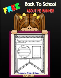 FREE About Me Banner - This Back to School About Me Banner is the perfect way for students to get to know each other better. Attach the banners to a ribbon or string and you will have an instant display piece for a hallway or classroom wall. This banner was designed with upper elementary grade students in mind. Students will want to decorate the many design elements included on this attractive banner.