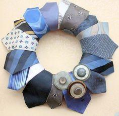 Recycled No-Sew Necktie Wreath