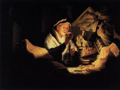 Parable of the Rich Man (1627). Rembrandt Harmenszoon van Rijn (Dutch, 1606-1669). Oil on oak. Staatliche Museen, Berlin. The painting, known as The Money-Changer, is also interpreted as the allegory of miserliness. The highly conscious use of dark and light in constructing compositions is considered part of Caravaggio's legacy. This method was known to Rembrandt through the mediation of Utrecht painters like Gerrit van Honthorst, who brought stylistic Caravaggism from Italy to Holland.