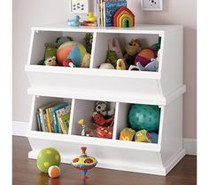 Too spendy for something kids will ding up/set cups on/otherwise ruin, but would be a good solution in the nursery.      Kids' Toy Boxes: Kids Wooden Primary Stacking Storage 2 and 3 Bin
