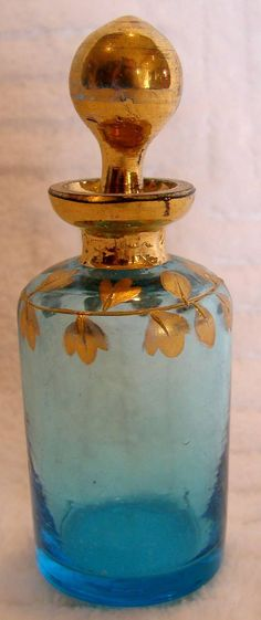 Bohemian Blue Glass Small Scent Perfume Bottle w Stopper c 1900