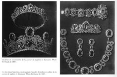 The sapphire parure was worn by the Countess of Cholmondeley at Queen Elizabeth's coronation in 1952. The parure was later sold at auction in the 1970s, after the tiara and the necklace were heavily transformed. The necklace resurfaced at the beginning of the 2000s, at a Biennale des Antiquaires in Paris, at a retailer named Zendrini.