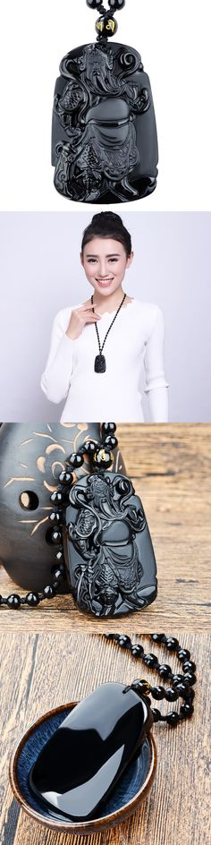 Fahion Beautiful Jewelry Natural Black Obsidian Carved The Xuanwu Emperor Lucky Amulet Blessing Pendant Free beads Necklace