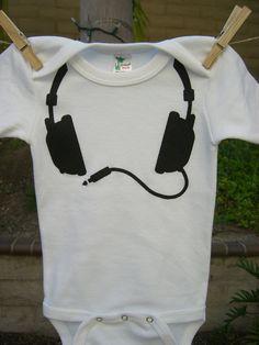DJ Headphones Onesie Hand Screen Print. $17.00, via Etsy.