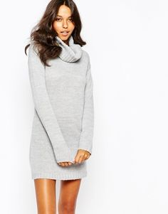 Boohoo – Pulloverstrickkleid mit Rollkragen