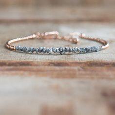 Rough Diamond Bracelet in Rose Gold April Birthstone Raw