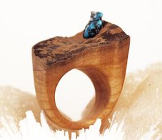 Hand made wooden ring with turquoise pyrite raw от evolvinghabitat