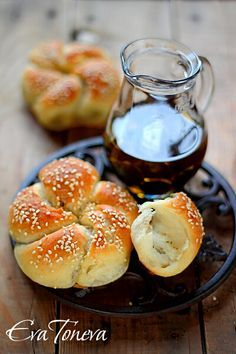 Turkish bread with black olive paste filling. Google does a fair translation so worth trying