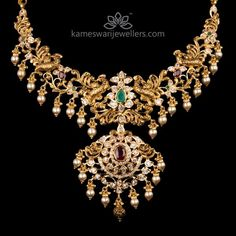 Traditional gold necklaces for women from the house of Kameswari. Shop for antique gold necklace, exquisite diamond necklace and more! Gold Wedding Jewelry, Gold Jewelry Simple, Bridal Jewelry, Gold Jewellery, Temple Jewellery, Jewelry Necklaces, Latest Jewellery, Chain Jewelry, Bridal Necklace