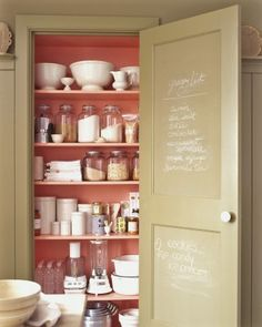 DIY How to make your own custom color chalkboard paint. from Custom Color Chalkboard Paint - Martha Stewart Organizing Crafts Pantry Storage, Pantry Organization, Kitchen Storage, Organized Pantry, Pantry Ideas, Pantry Shelving, Closet Shelves, Hidden Storage, Open Shelving