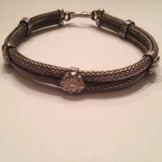 Antique or Vintage Persian Sterling Silver Mesh Flower Bracelet by Stellavintagejewelry on Etsy