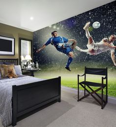 Two football players striking the ball Football Theme Bedroom, Boys Football Bedroom, Boy Sports Bedroom, Football Rooms, Football Players, Diy Bedroom Decor For Teens, Bedroom Themes, Bedroom Ideas, Boys Bedroom Wallpaper