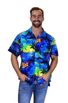 Men's Clothing, Shirts, Casual Button-Down Shirts,Funky Hawaiian Shirt For Men Short Sleeve Front-Pocket Surf Multiple Colors - Blue - # # Casual Button Down Shirts, Button Up Shirts, Stylish Outfits, Fashion Outfits, Fashion Shirts, Mens Hawaiian Shirts, Mens Clothing Styles, Men's Clothing, African Wear