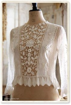 Irish crochet blouse - [Belle Lurette] Europe France antique lace linen clothing mail order
