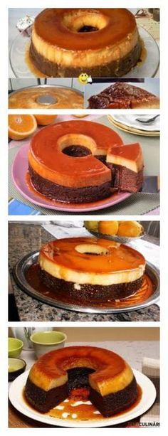 DESCUBRA COMO FAZER O MELHOR BOLO PUDIM VEJA>> SALVE ESTE PIN Ligar o forno a 180ºC. Colocar um tabuleiro (eu tenho 2 formas redondas sem buraco #bolo#torta#doce#sobremesa#aniversario#pudim#mousse#pave#Cheesecake#chocolate#confetaria