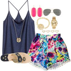 A fashion look from July 2014 featuring H&M tops, Jack Rogers sandals and Kendra Scott earrings. Browse and shop related looks.