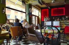 String cafe, Stockholm.  I fell in love at a cafe like this so I'll always miss Stockholm....